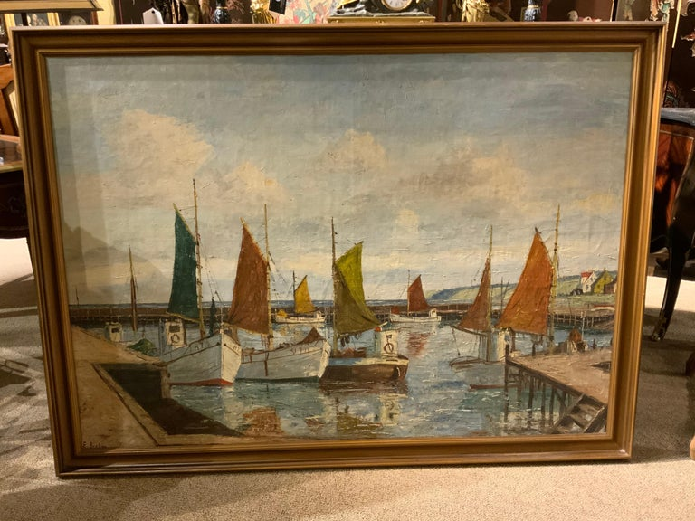Oil on Canvas of Sea Scape of Swiss Boats in Harbor by Emil Brehm, 1880-1954 For Sale 3