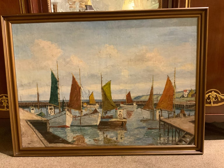 Oil on Canvas of Sea Scape of Swiss Boats in Harbor by Emil Brehm, 1880-1954 For Sale 4