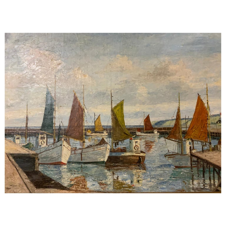Oil on Canvas of Sea Scape of Swiss Boats in Harbor by Emil Brehm, 1880-1954 For Sale