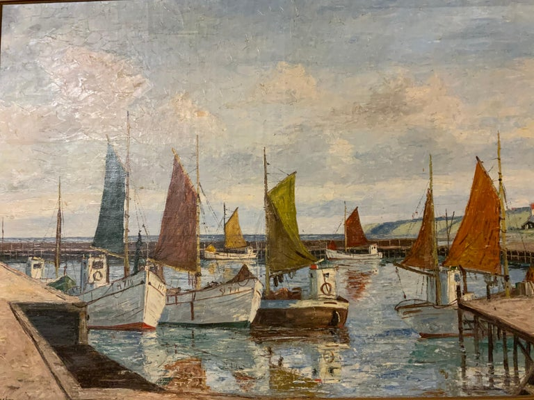 Framed oil on canvas of large Swiss boats in a Swiss harbor by Emil Brehm. Colorful sail masts in warm hues of oranges greens and amber. Clear blue sky with White puffy clouds. Village in the background.