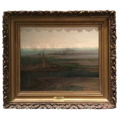 """Oil on Canvas of """"the Port of Boston"""" by George Loring Brown"""