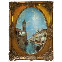 Oil on Canvas of Venetian Scene in Ornate Giltwood Frame