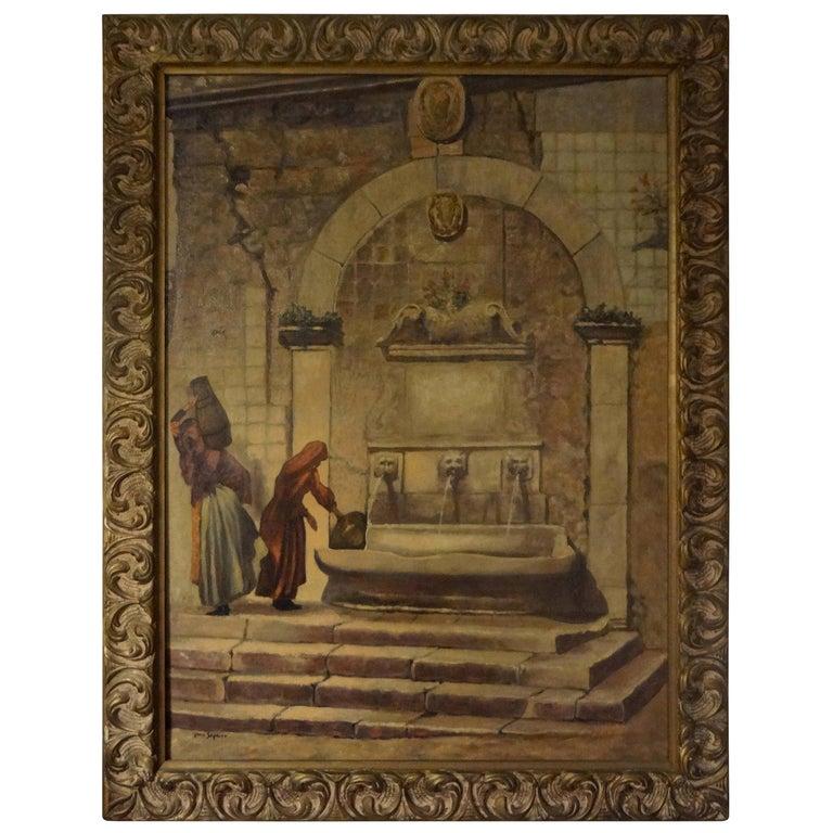 Oil on Canvas, Orientalist Scene, Signed Louis Saphier, circa 1920 For Sale