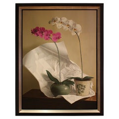 Oil on Canvas Painted in 2013 Signed Orchids with Paper