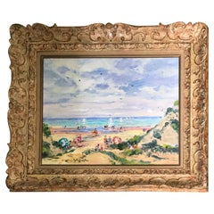 Oil on Canvas Painting 20th Century Beach Seascape Greek Artist Born in Paris