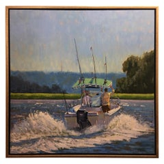 "Oil on Canvas Painting ""Boys Day Out"", Boating Scene, Michael Reibel"