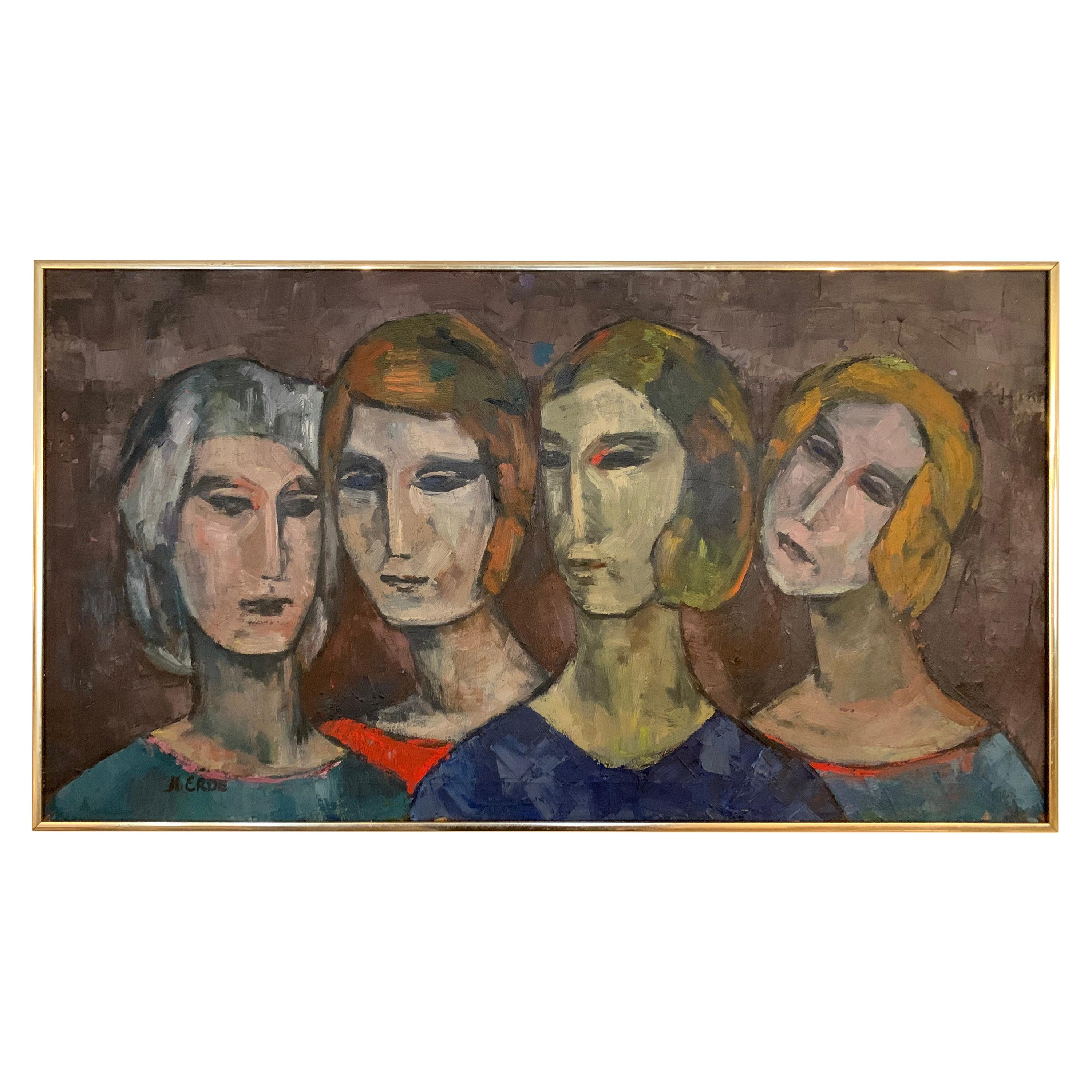 Oil on Canvas Painting by H. Erde, Sisters