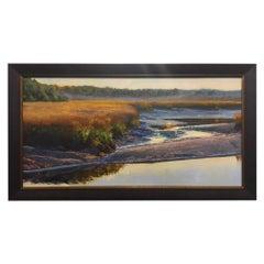 "Oil on Canvas Painting ""Falling Tide Huspah Creek"" Marsh Scene, Michael Reibel"