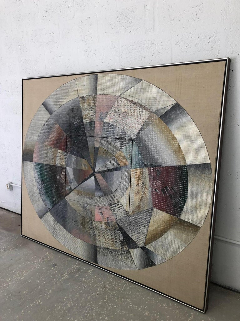 This large scale oil on canvas painting was acquired from a Palm Beach estate and is by the American artist Edward Giobbi. The piece is quite unique as the artist has created what is basically two canvas's combined into one piece of art. When
