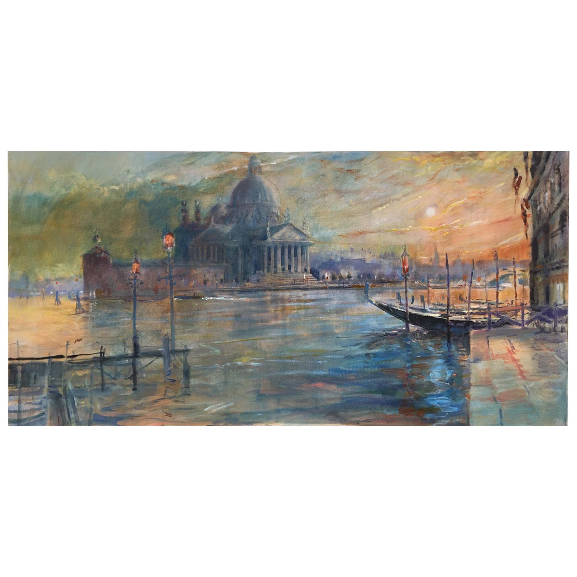 """Oil on Canvas Painting """"Grand Canal, Venice Sunset"""", Michael Chaplin"""