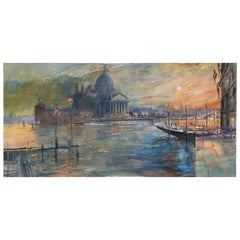 "Oil on Canvas Painting ""Grand Canal, Venice Sunset"", Michael Chaplin"