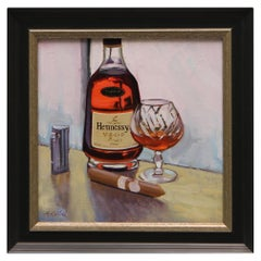 "Oil on Canvas Painting ""Hennesy & Montecristo White Series"", Michael Reibel"