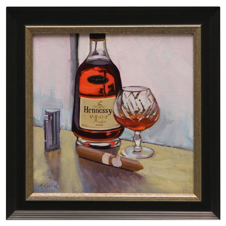 """Oil on Canvas Painting """"Hennesy & Montecristo White Series"""", Michael Reibel For Sale"""