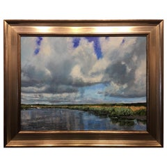 "Oil on Canvas Painting ""Hovering"" Marsh and Clouds Scene, Michael Reibel"