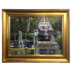 "Oil on Canvas Painting ""Needs Some Lovin"" Shrimp Boat, Michael Reibel"