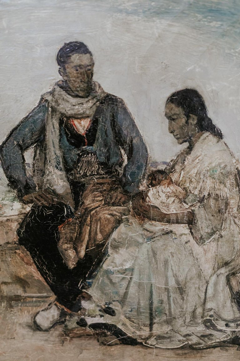 This is a wonderful small painting by Belgian artist Emile Gastemans, 1883-1956, of a gypsy family in Toledo, Spain, still in its original frame.