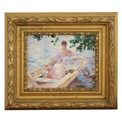 Oil on Canvas Painting of a Mother and Child in a Boat by D. Chandler