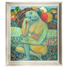 Oil on Canvas Painting of a Nude Woman by O. Phnumohosa, Dated 1997