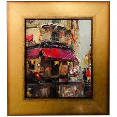 Oil on Canvas Painting of a Parisian French Store, Signed and Frame