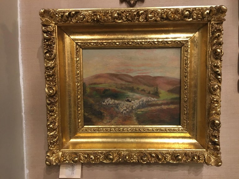 Oil on canvas painting of a shepherd with sheep in mountains landscape, unsigned, late 19th century.