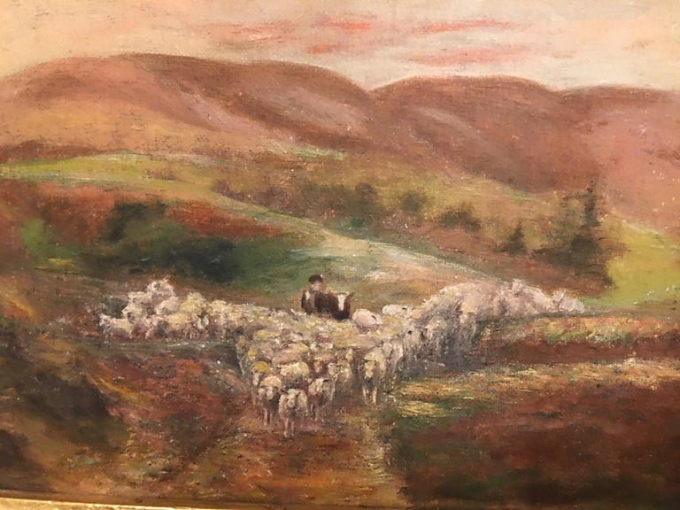 Oil on Canvas Painting of a Shepherd with His Sheep, Unsigned, Late 19th Century In Good Condition For Sale In Savannah, GA