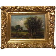 Oil on Canvas Painting of a Summer Landscape, Late 19th Century