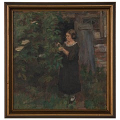 Oil on Canvas Painting of a Woman in the Garden by Majsa Bredsdorff
