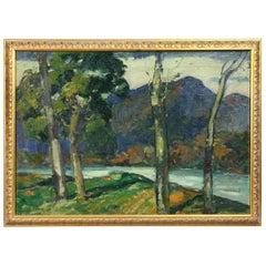 "Oil on Canvas Painting of ""Adirondack Stream"" by Jonas Lie"