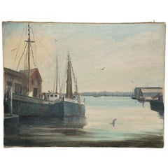 Oil on Canvas Painting of Harbor Scene Signed