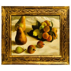 Oil on Canvas Painting of Pears and Other Fruits in a Gold Frame Signed Nadeau