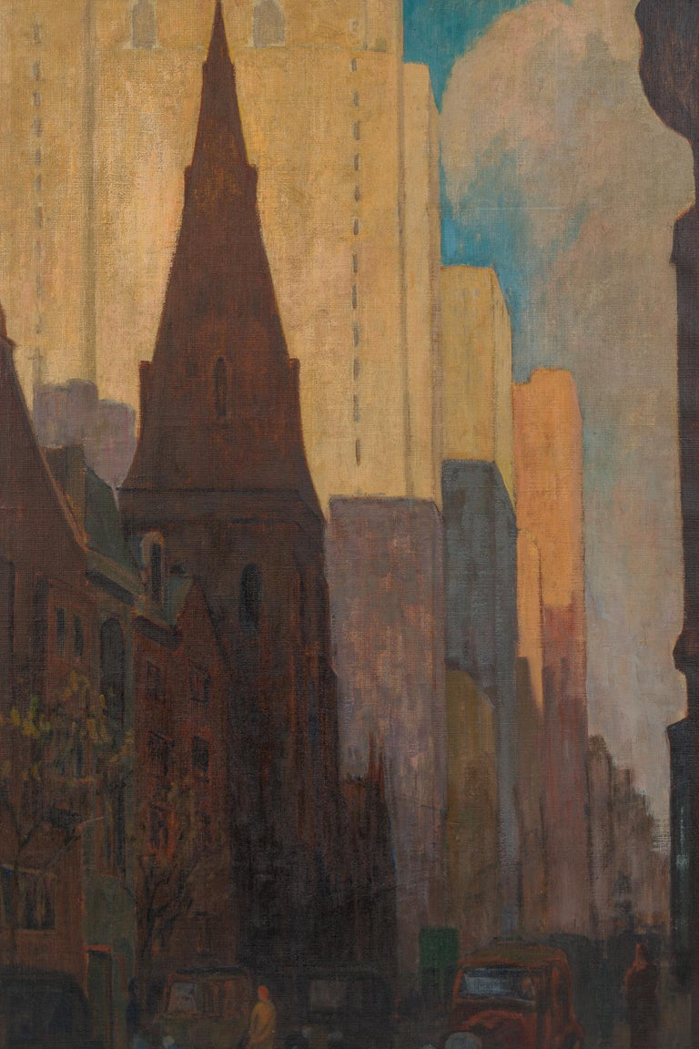 North American Oil on Canvas Painting of St. Mark's Church in Philadelphia by Yarnall Abbott For Sale