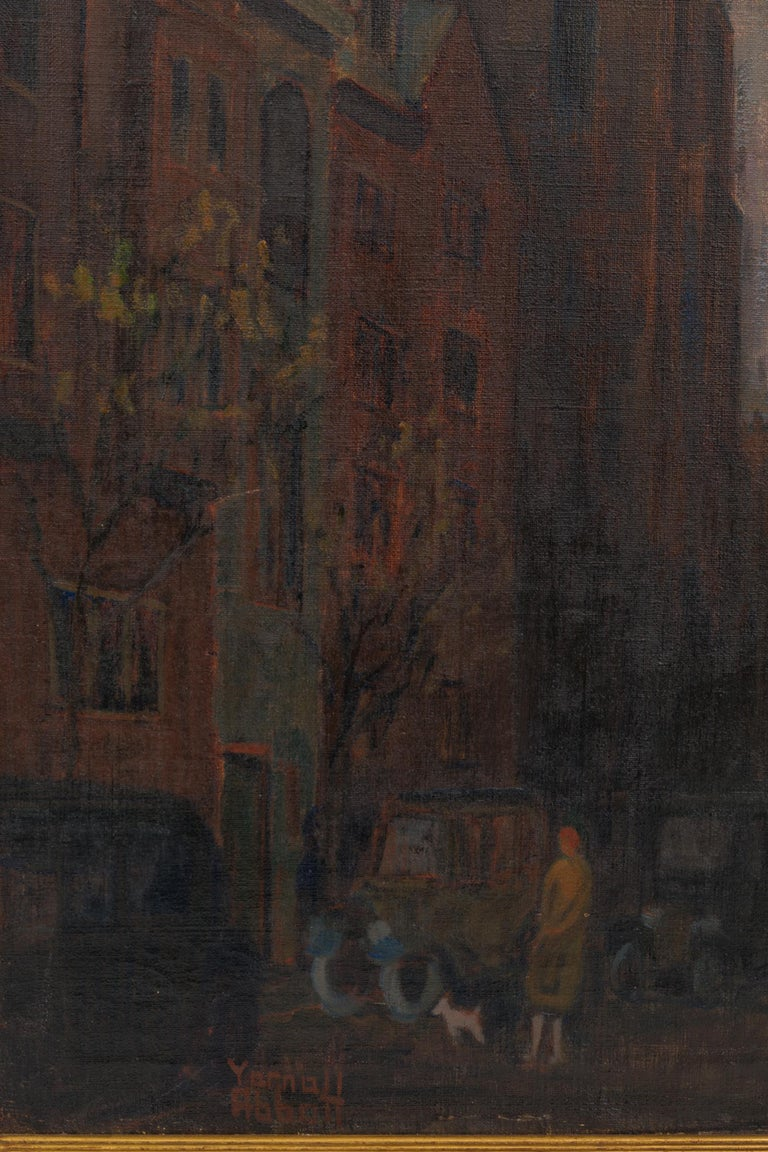 Hand-Painted Oil on Canvas Painting of St. Mark's Church in Philadelphia by Yarnall Abbott For Sale