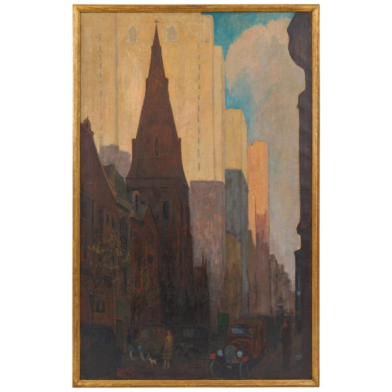 Oil on Canvas Painting of St. Mark's Church in Philadelphia by Yarnall Abbott For Sale