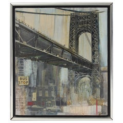 Oil on Canvas Painting of the Manhattan Bridge by M. Kaplan