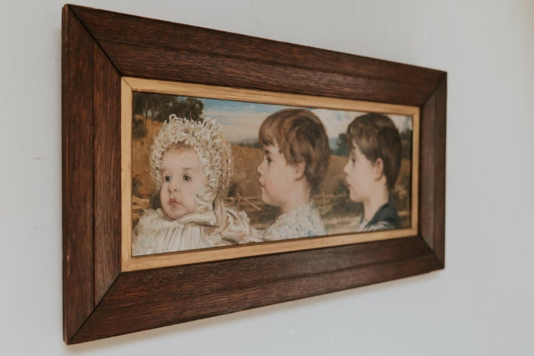 British Oil on Canvas Painting of Three Toddlers For Sale