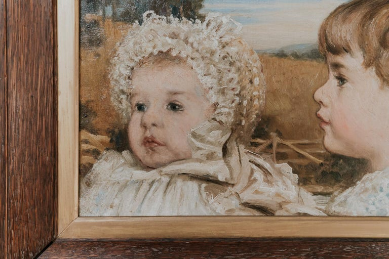 Hand-Painted Oil on Canvas Painting of Three Toddlers For Sale