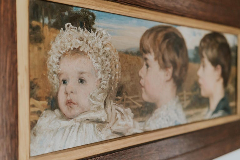 Oil on Canvas Painting of Three Toddlers In Good Condition For Sale In Brecht, BE