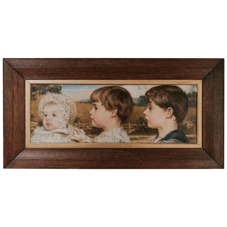 Oil on Canvas Painting of Three Toddlers For Sale