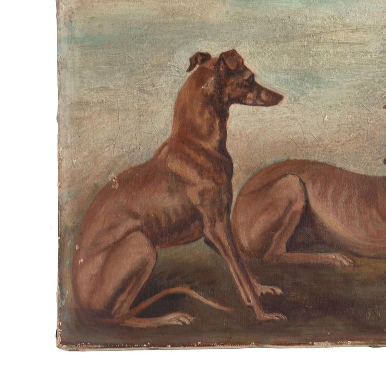 French Oil on Canvas Painting of Whippets For Sale