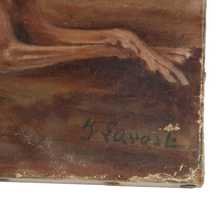 19th Century Oil on Canvas Painting of Whippets For Sale