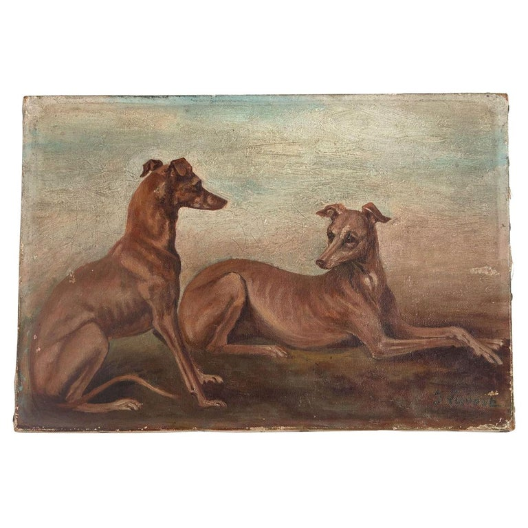 Oil on Canvas Painting of Whippets For Sale