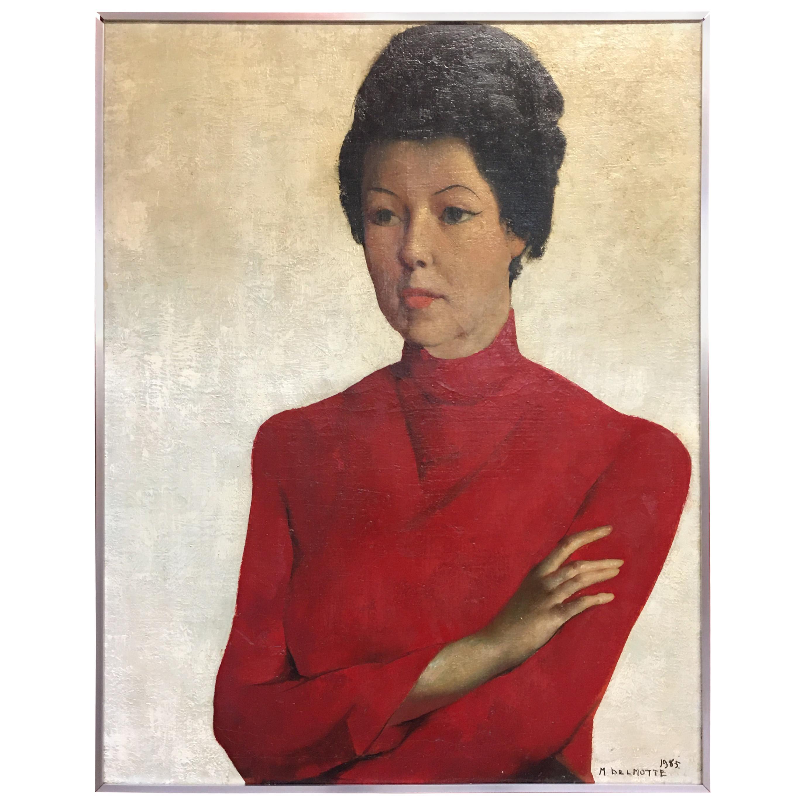 """Oil on Canvas Painting """"portrait de Mady en rouge"""" Delmotte Marcel, 1965"""