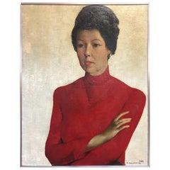 "Oil on Canvas Painting ""portrait de Mady en rouge"" Delmotte Marcel, 1965"
