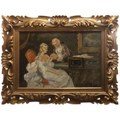 "Oil on Canvas Painting ""Romance Scene"" Signed O. Daudet, Late 19th Century"