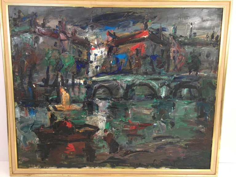 Oil on Canvas Painting, Signed, circa 1960 For Sale 4