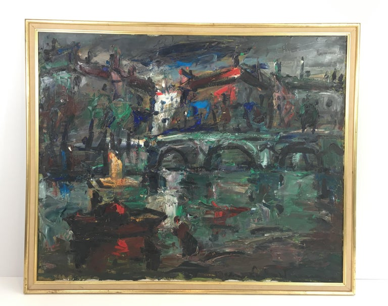This painting is an oil on canvas. It represents small boats near a nice bridge on a river in a French town. This painting is signed. This is a work, circa 1960.
