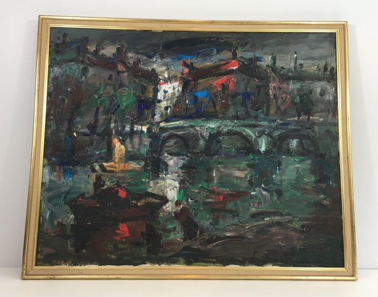 French Provincial Oil on Canvas Painting, Signed, circa 1960 For Sale
