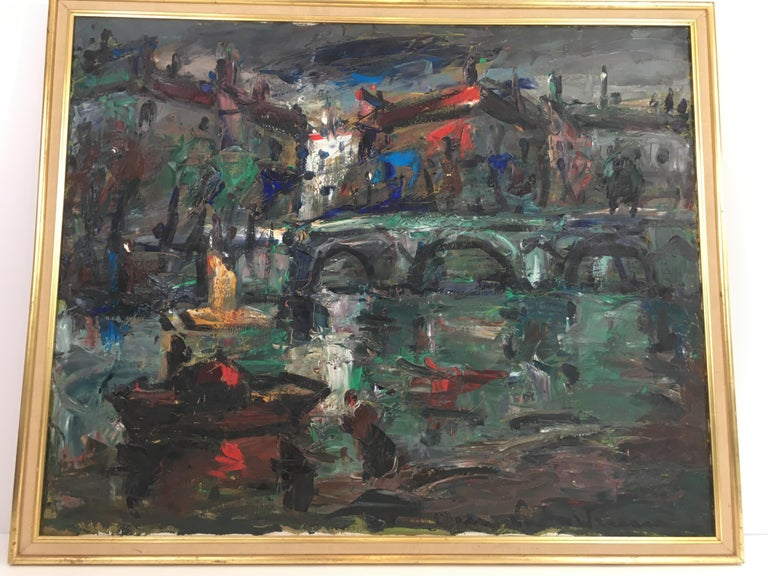 French Oil on Canvas Painting, Signed, circa 1960 For Sale