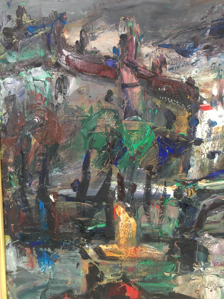Oil on Canvas Painting, Signed, circa 1960 For Sale 1
