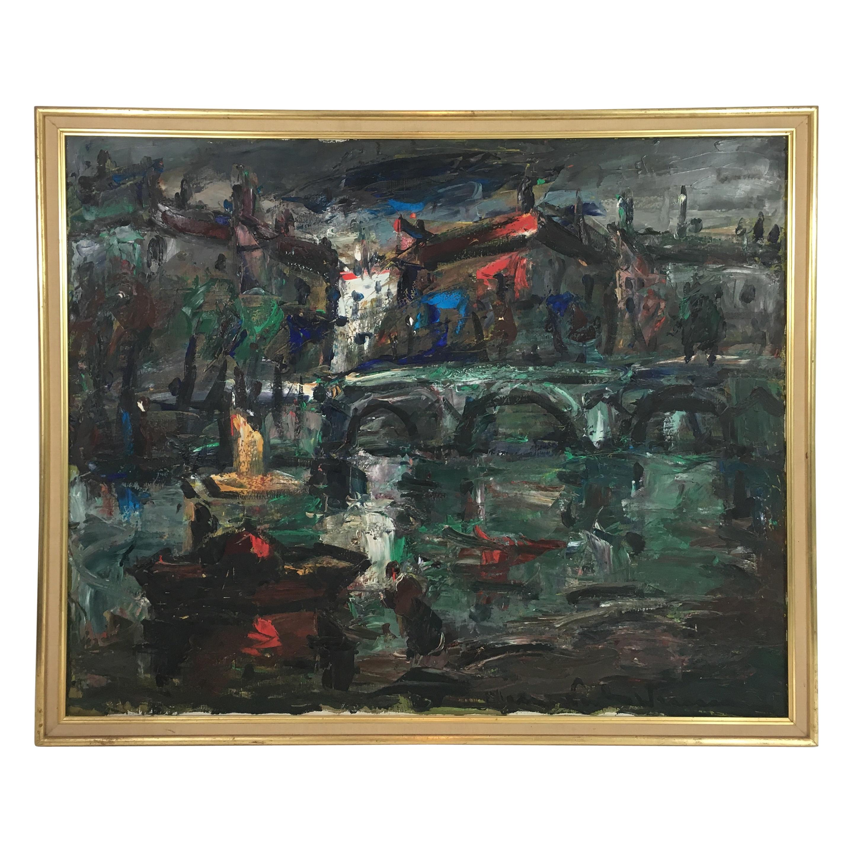Oil on Canvas Painting, Signed, circa 1960